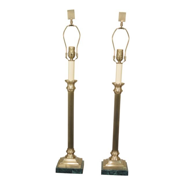 Wildwood Brass & Green Marble Base Table Lamps - a Pair For Sale