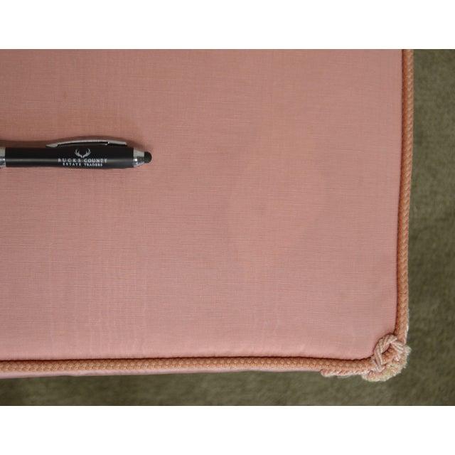 Hollywood Regency Pair Vintage Pink Upholstered Stools For Sale - Image 11 of 12