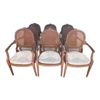1960s Vintage Faux Bois Cane Back Arm Chairs- Set of 9 For Sale