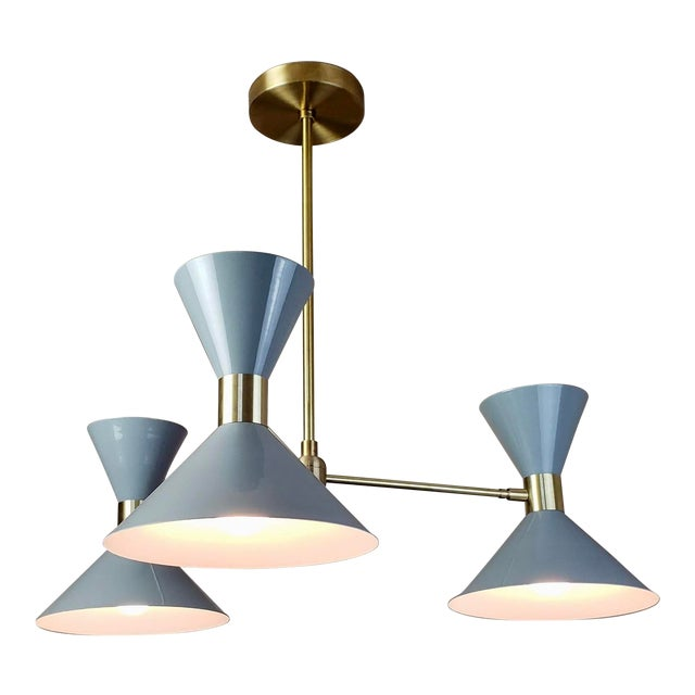 'Monarch' 3-Arm Modern Brass and Gray Enamel Pendant by Blueprint Lighting For Sale