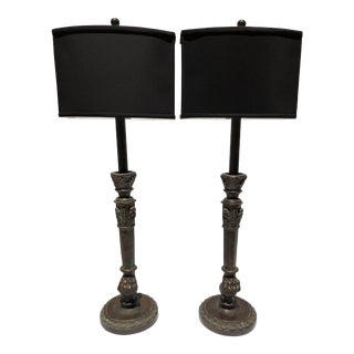 Hand Made Solid Bronze Maitland Smith Lamps With Neo Classical Motifs and New Lampshades - a Pair For Sale