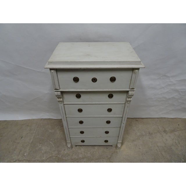 "This is a 6 drawer Swedish chest, it has been restored and repainted with Milk Paints ""Oyster White"""