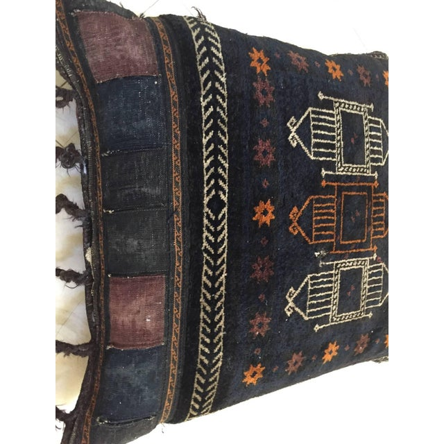 Handmade antique collectible Afghan Baluch camel saddle grain tribal bag, circa 1880s, this large tribal camel grain bag...