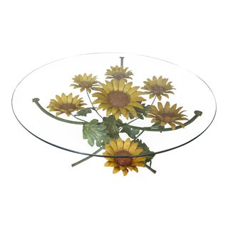 Mid-Century Modern Tole Sunflower Coffee Table For Sale