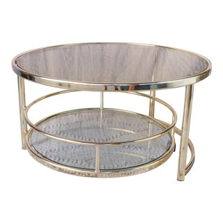 Vintage Hollywood Regency Roll Out Bottom Coffee Table For Sale