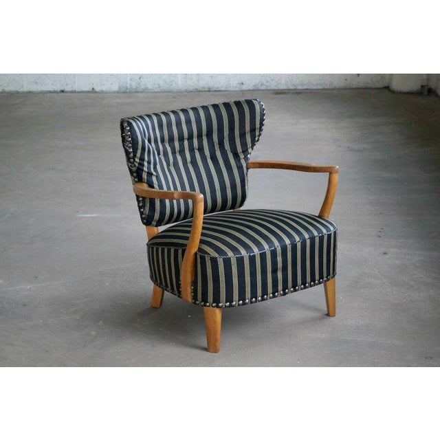 Otto Schulz Style Lounge Chair in Oak with Brass Tacks Danish Mid-Century For Sale - Image 11 of 11