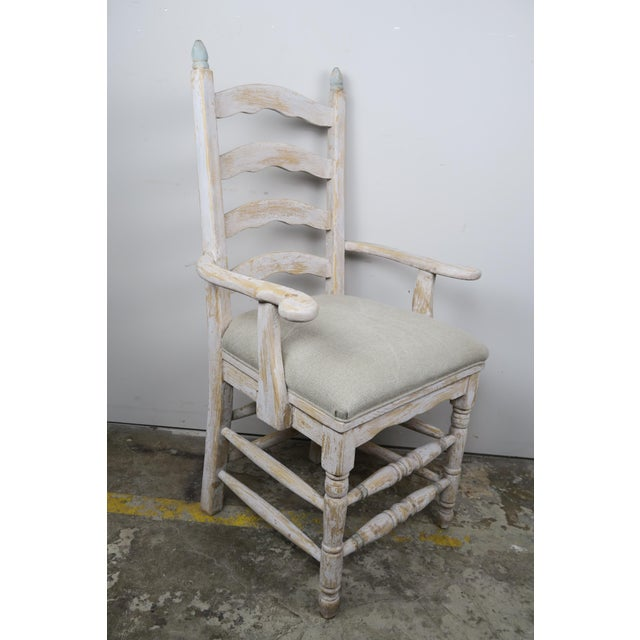 French Country Painted Ladder Back Dining Chairs Set Of