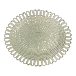 French Creamware Basketweave Platter For Sale
