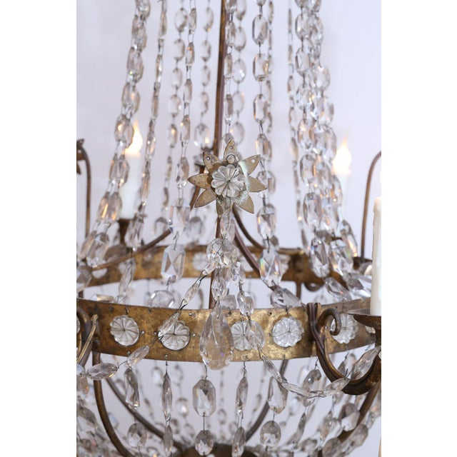 Metal 19th Century Neoclassical Gilt-Iron Chandelier For Sale - Image 7 of 13