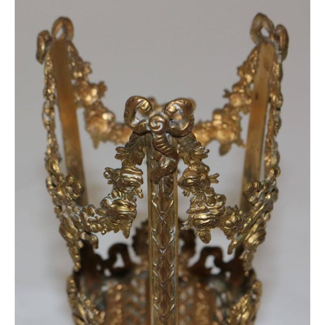 19th Century French Ormolu Metal Etched Glass - Image 8 of 10