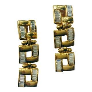 1980s Robert Rose Long Baguette Crystal Gold Squares Earrings For Sale