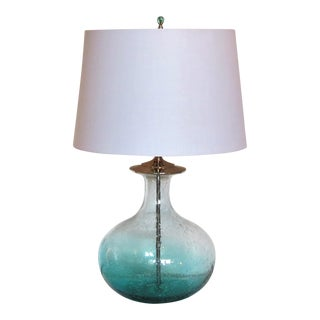Aqua Teal and Clear Blown Glass Lamp on Crystal Base With Shade by C. Damien Fox For Sale