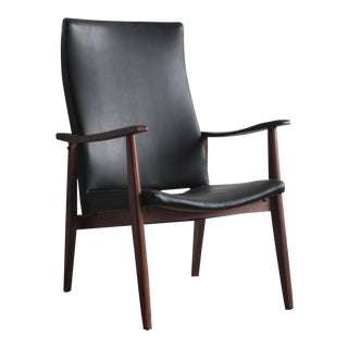 1970s Vintage American Mid-Century Modern Black Vinyl Lounge Chair For Sale