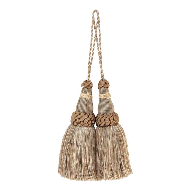 Key Tassels in Khaki and Bronze With Ruche Trim - a Pair For Sale