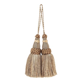Sage Green Key Tassels With Looped Ruche - a Pair For Sale