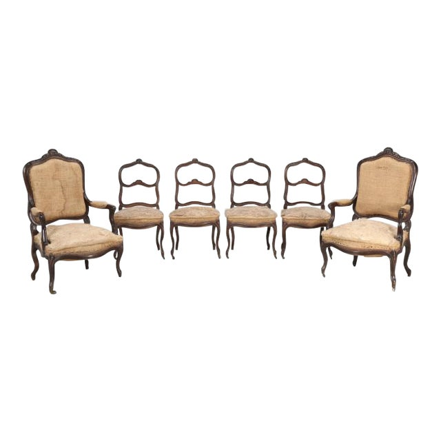 French Antique Carved Parlor Chairs - Set of 6 For Sale