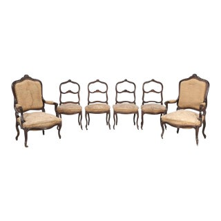 Set of Six Carved French Antique Parlor Chairs For Sale