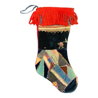 19th Century Crazy Quilt Christmas Stocking For Sale
