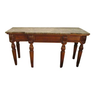 Solid Mahogany Marble Top Console Table For Sale
