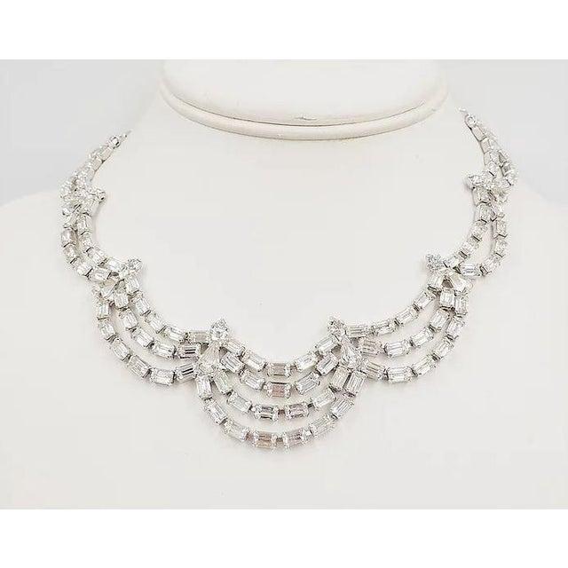 1950s Kramer of Ny Rhinestone Festoon Necklace For Sale - Image 9 of 12