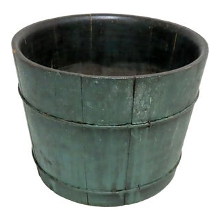 Antique Blue Painted American Country Primitive Farm Bucket For Sale