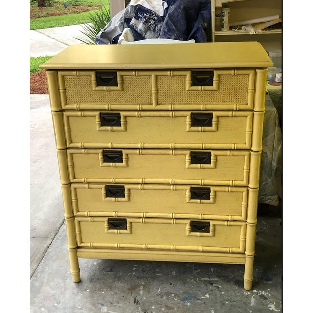 Stanley Yellow Faux Bamboo Dresser For Sale - Image 13 of 13