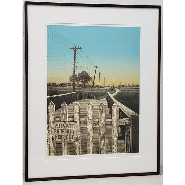 """Martin Levine (American, 20th C.) """"Private Property"""" Limited Edition Color Lithograph C.1982 For Sale - Image 11 of 11"""