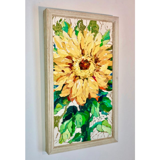 "Boho Chic ""Sunflower I"" Acrylic Collage Painting For Sale - Image 3 of 7"