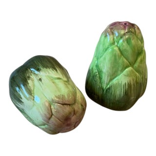 Artichoke Salt and Pepper Shakers-Fitz Floyd For Sale
