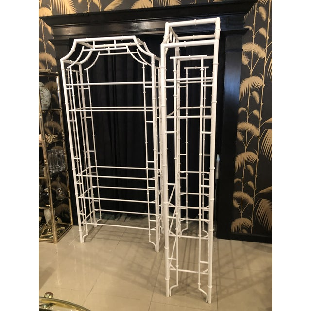 Vintage Chinese Chippendale Newly White Powder-Coated Faux Bamboo Pagoda Metal Shelves Etageres -A Pair For Sale - Image 9 of 13