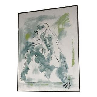 """Abstract Framed Print """"Blue Girl #2"""" by Dawn Walling For Sale"""