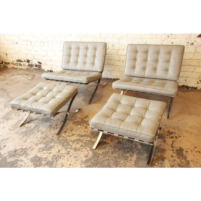 Van Der Rohe Barcelona Chairs & Ottomans -Set of 4 - Image 2 of 11