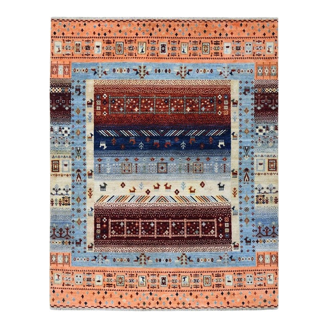Wool Kashkuli Gabbeh Pictorial Hand Knotted Rug For Sale