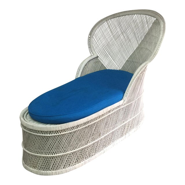 Vintage Bohemian Wicker Rattan Lounge Chair For Sale