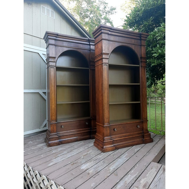 Vintage Drexel 1968 Et Cetera French Style Aged Walnut Solid Wood Bookcases - a Pair For Sale - Image 12 of 13