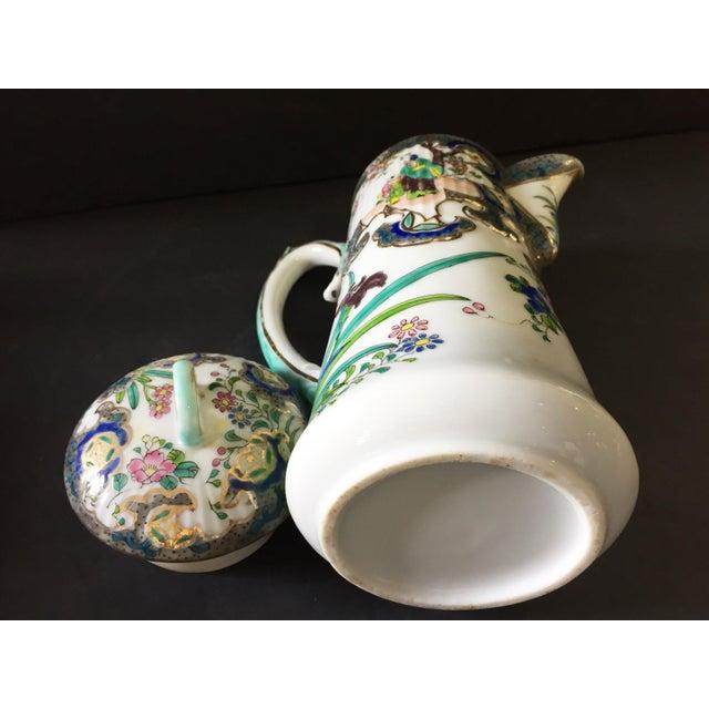 "Gold Old H Painted Asian Porcelain Tea Pot 8.75"" H For Sale - Image 8 of 9"