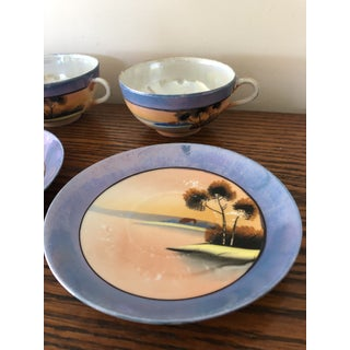 Vintage Lustreware Handpainted Cups and Saucers — Set of 6 Preview
