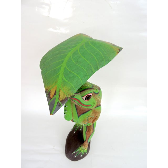 1970s 1970s Boho Chic Balinese Frog With Leaf For Sale - Image 5 of 7