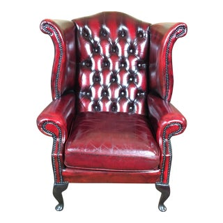 Vintage 20th Century English Traditional Oxblood Leather Chesterfield Wingback Chair For Sale