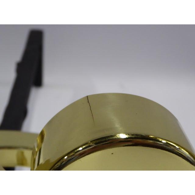 Donald Deskey Modernist Brass Andirons - Image 8 of 11