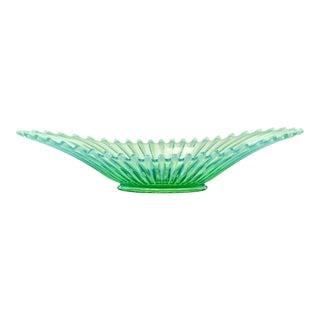 Aqua & Green Opalescent Ribbed Fostoria Bowl