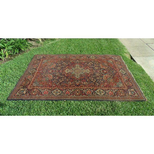 Antique Handwoven Persian Oriental Rug Kashan Center Medallion Navy Background Red Accent 4'5'' x 6'6'' COLLECTOR'S TREASURE