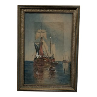 Impressionist French Schooner Seascape Watercolor For Sale