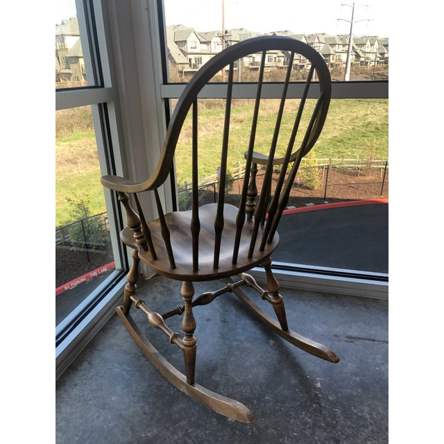 19th Century 19th C. Ethan Allen Antique Solid Maple Windsor Rocking Chair For Sale - Image 5 of 13