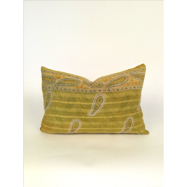 Offered is a vintage lumbar Kantha pillow with natural linen back and hidden zipper closure. 95/5 down feather insert...