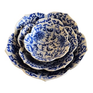 Blue & White Chinoiserie Decorative Nesting Bowls - Set of 3
