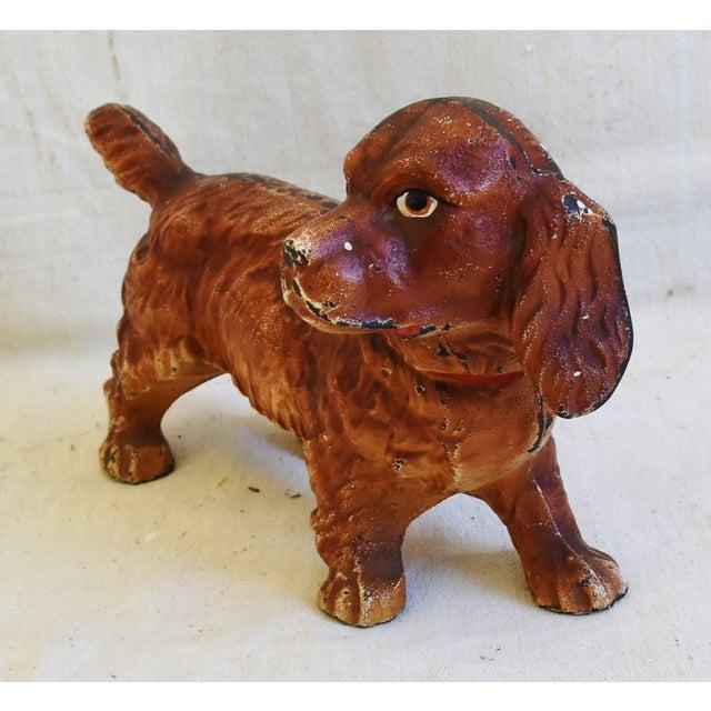 Charming Vintage Cast Iron Dog Figure Doorstop For Sale - Image 4 of 12
