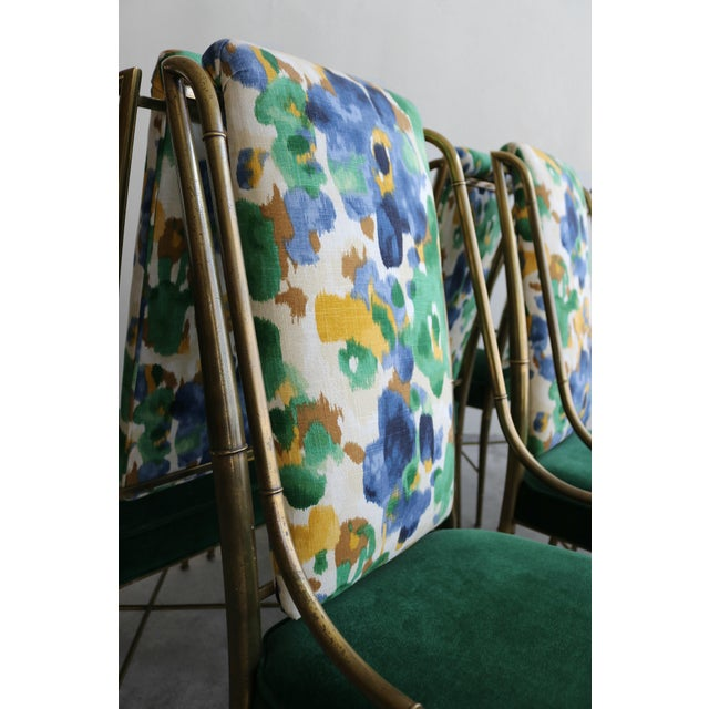 """Set of 6 Solid Brass Faux Bamboo """"Imperial"""" Dining Chairs by Mastercraft For Sale In Las Vegas - Image 6 of 8"""