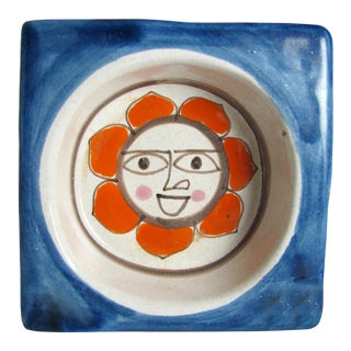 1960s DeSimone Hand Painted Sun Wine Bottle Coaster For Sale