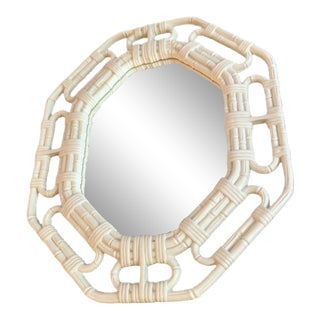 Vintage Faux White Wicker Mirror For Sale